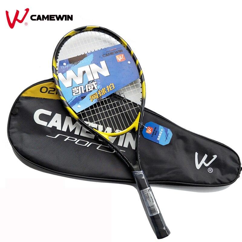 1 Pcs 75 cm En Plein Air En Alliage D'aluminium Raquette De Tennis CAMEWIN Marque Gym Raquette De Tennis Avec Sac Pour Homme Et Femmes (couleur: noir Jaune)