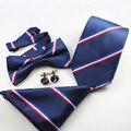 Corbata para hombre + Bowtie + Pañuelo + Mancuernas Establece Hilo de Poliéster Corbata A Rayas Corbatas para Hombre Marca Ronda Gemelos Tie conjunto