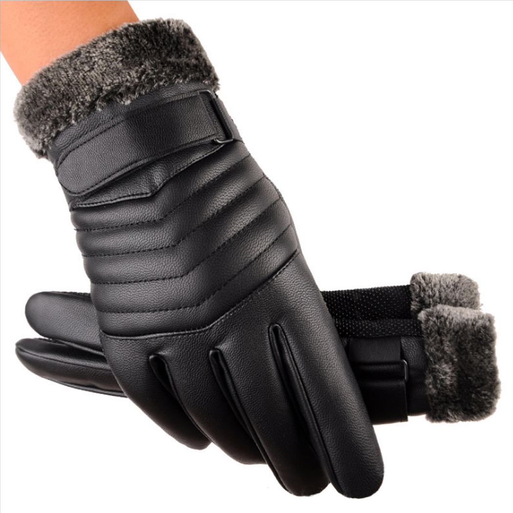 New Men Thicken Plush Warm Gloves Winter Spring Leather Touchscreen Glove Outdoor Anti-S ...