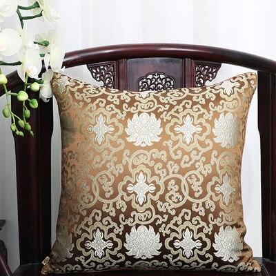 Чехол для подушки для автомобильного стула с цветами 40x40 см 45x45 см 50*50 60*60 китайские красочные диванные Декоративные Чехлы для подушек, шелковая атласная наволочка - Цвет: Коричневый