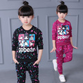2016 Girls Outfit Kids Fall Clothes Cartoon Minnie Clothing Sets Casual Letter Tracksuit Sweatshirts+ Pants 2Pcs for Girls Suit