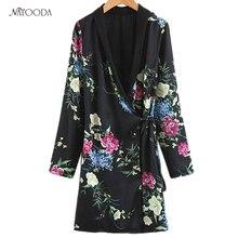 NATOODA Mode Vintage Femmes Imprimé floral Blazer Kimono Ceintures  Angleterre Style Tunique À Manches Longues Casual Bureau Femm. 0ba943ae3ee