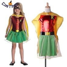 Kids Robin Tutu Dress DC Comics Superhero Girl Costume Outfit with Cloak Mask Batman Halloween Fancy for Children