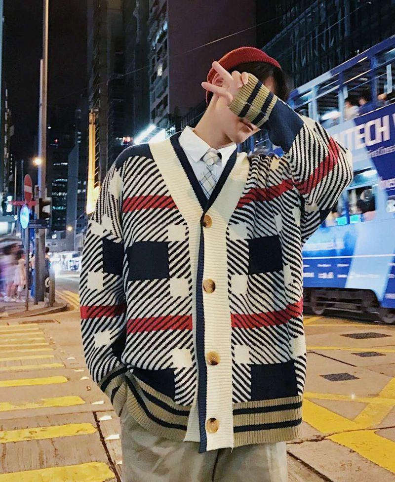 Cardigan Hommes Automne Et D'hiver Nouveau Chaud Casual Confortable Lâche Grande Taille Mode Streetwear Imprimer Manches Longues Pull Homme