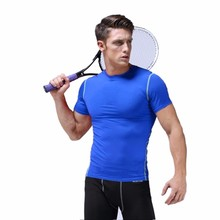 S-XXL Quick-dry Men Compression Shirts Sports Tight Fitness GYM Skins Base Layer Bodybuilding Fitness Running shirts Slim Tees