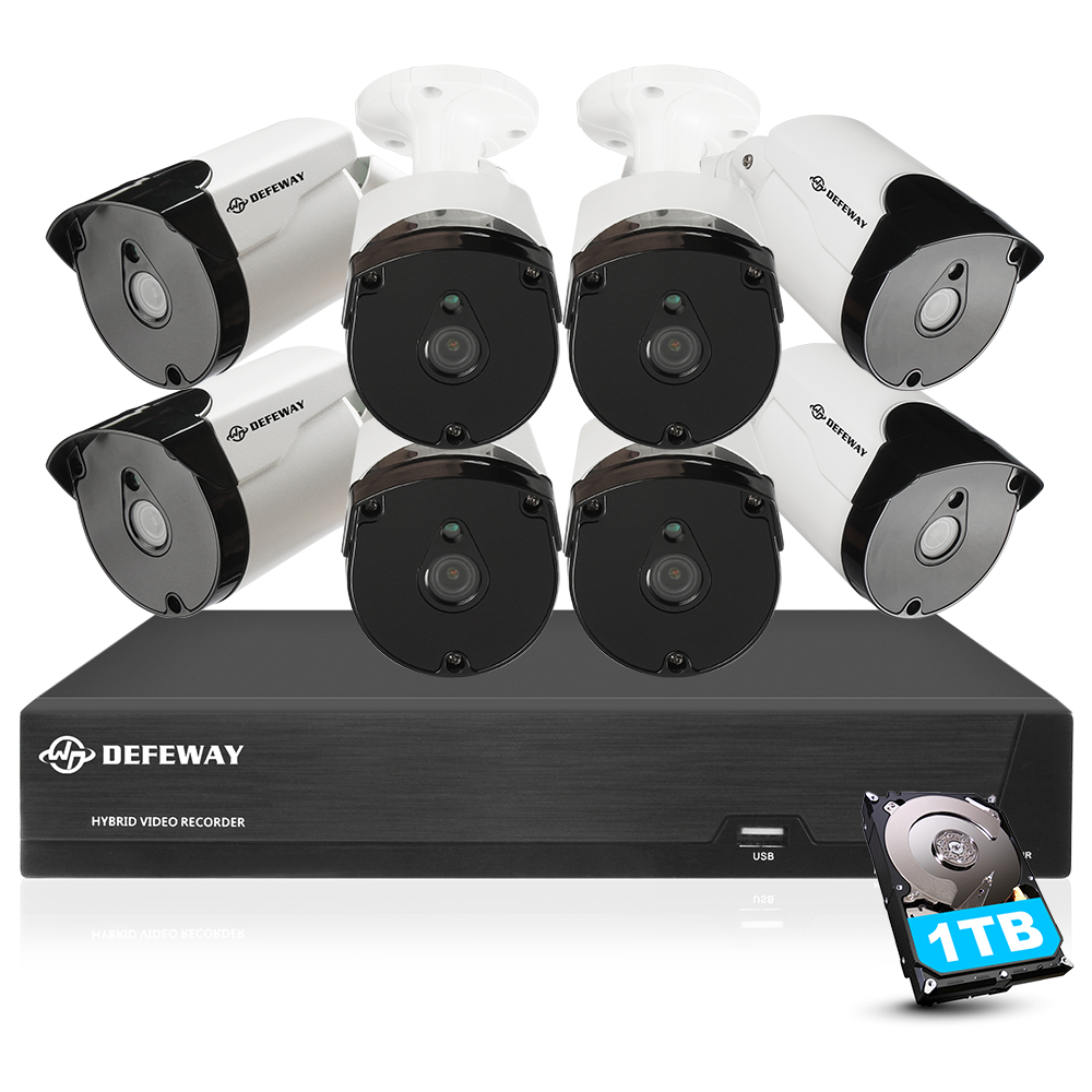 DEFEWAY Video Surveillance 5mp Security Camera System H.265+ HD 8CH Video CCTV 8 Camera outdoor Waterproof Camera Kit 1TB HDD