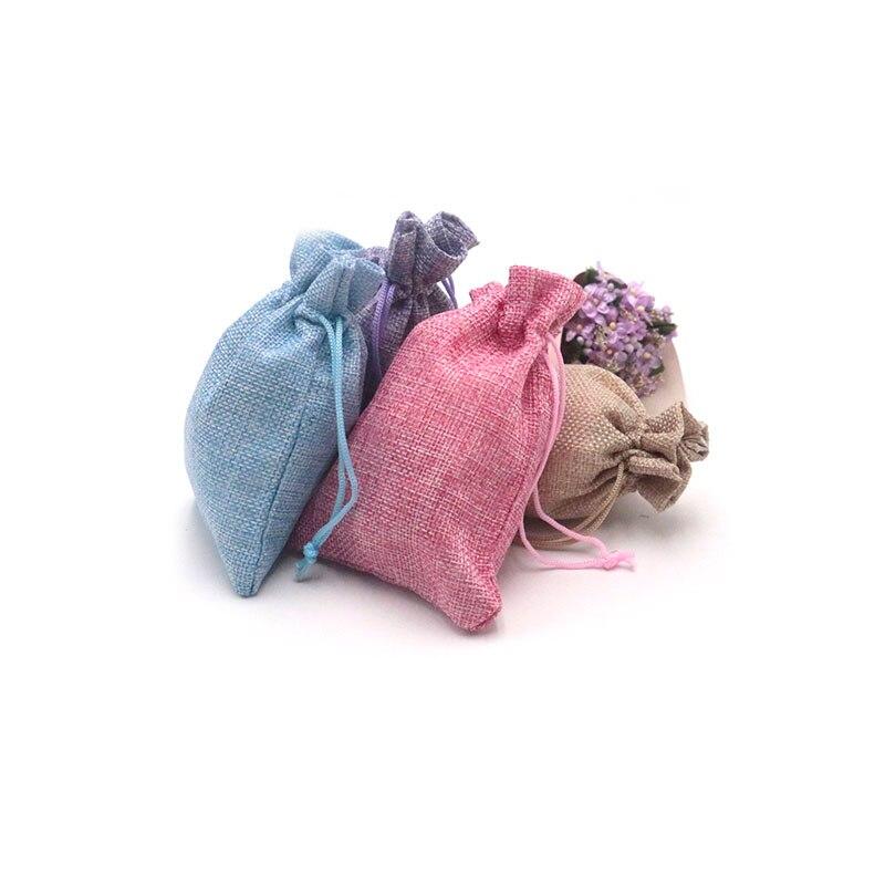 Wholesale 10pcs 10x14cm Jewelry Bags Linen Bag Drawstring Wedding Packing Pouchs&Gift Bags Mini Jute Bags Can Customize Logo