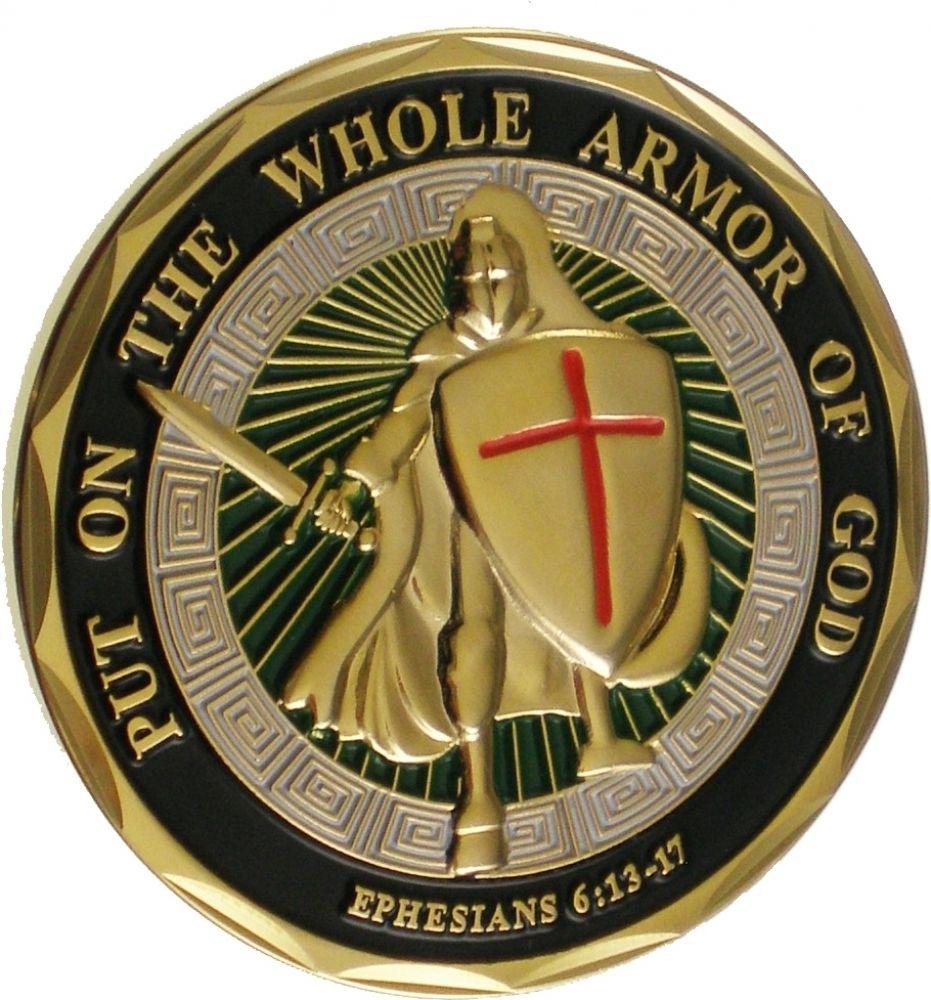 Militar desafío moneda en toda la armadura de Dios Efesios escudo y espada desafío moneda 100 unids/lote DHL envío gratis