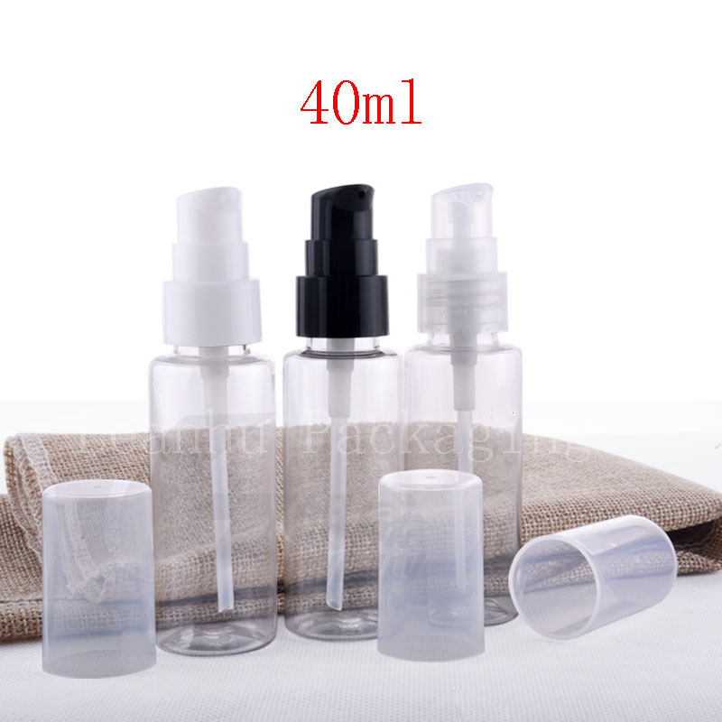 5b3041c6d52d US $55.0 |wholesale 40ml transparent cosmetic travel bottle with cream  lotion pump PET plastic bottles containers package 100 pc / lot -in  Refillable ...