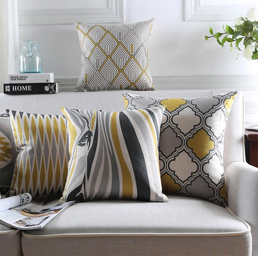 Gray Couch Pillows: Free Shipping!Geometric Yellow Grey Black Square Throw