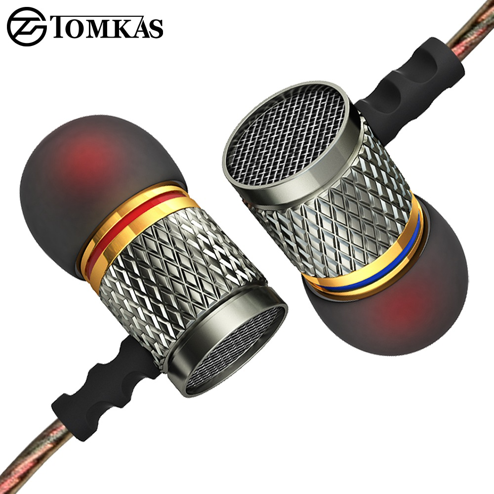 TOMKAS Sports Earphones with Microphone For Phone PC In-Ear Stereo Earphone Heavy Bass Fever Wired Earphones For Phone m320 metal bass in ear stereo earphones headphones headset earbuds with microphone for iphone samsung xiaomi huawei htc