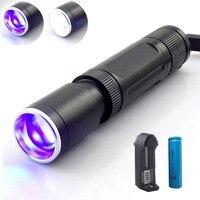 2 leds紫白uvウルトラバイオレットライトズーム可能な懐中電灯フラッシュライトブラックライト紫外線トーチランプお金検