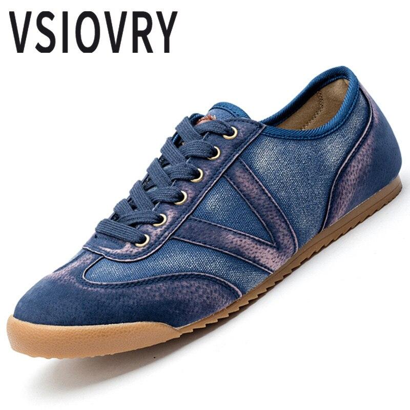 VSIOVRY Nouveau Hommes Sneakers Denim Chaussures de Course Printemps D'été Respirant Confortable Formateurs Pour Mâle Krasovki Sport En Plein Air Chaussures