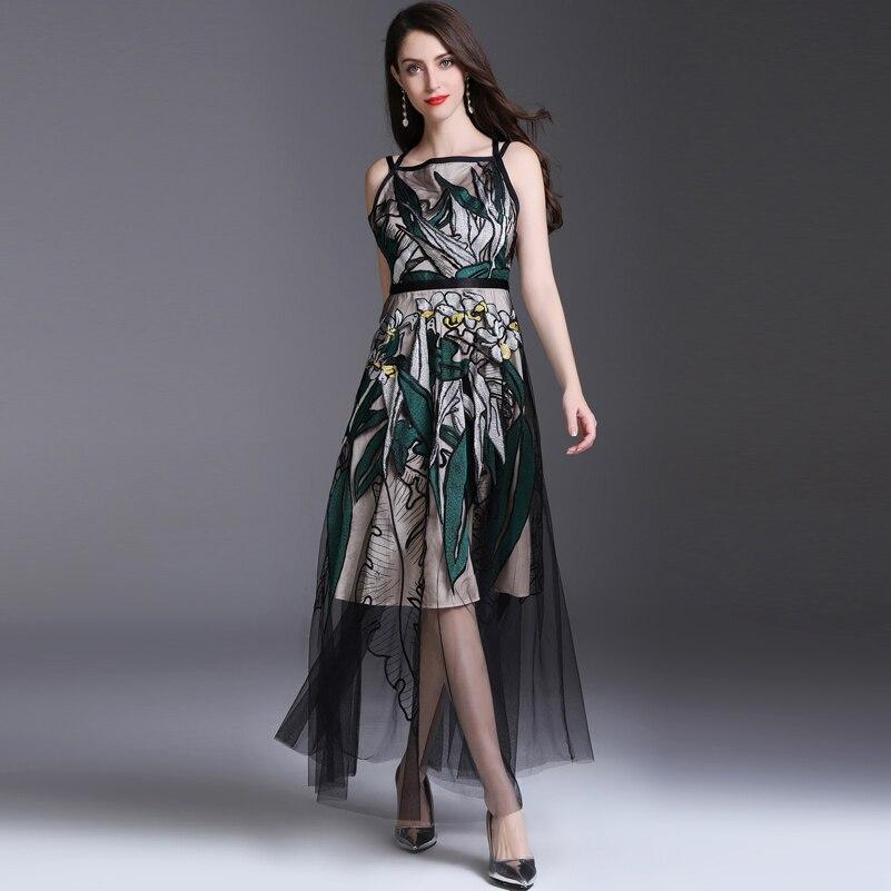 869677fed72 De Luxe Nouveau Sans Maxi Broderie Piste Manches Femmes Vintage Designer  Mode Vert Robe Sexy Maille D été Cou Longue Slash ByBw8q5Zxr