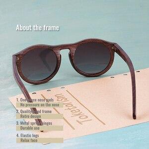 Image 3 - Toketorism עגול משקפי שמש עץ משקפי שמש גברים שיפוע עדשות מקוטבות נשים משקפיים שמש 6103