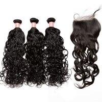 Вода волна человеческих волос Связки с закрытием 4x4 Бесплатный Часть бразильский пучки волос плетение Дело Мёд queen Hair продукты remy