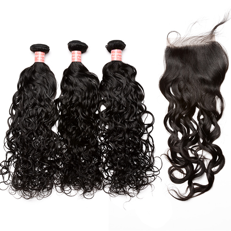 Water Wave Human Hair Bundles With Closure 4x4 Free Part Brazilian Hair Weave Bundles Deal Honey Queen Hair Products Remy