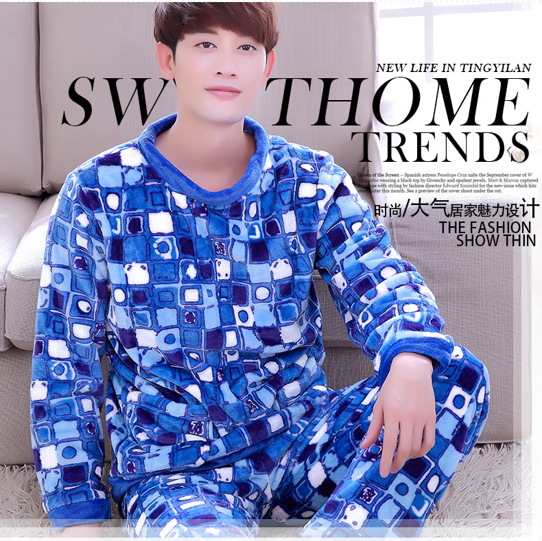 Men's Sleep Lounge 2pcs Fleece Pajamas Men's Winter Coral Homewear Male Long Sleeve O Neck Sleepwear Pull Over Plus Size D-2081
