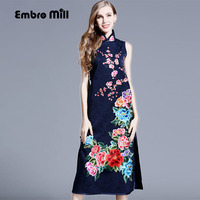 High end autumn women Chinese style floral midi dress embroidery dress plus size elegant lady jacquard Qipao party dress S XXXL