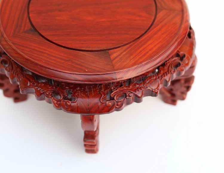wood round the base of red sandalwood wood household act the role ofing is tasted vase of Buddha handicraft furnishing articles solid wood carved wooden vase flowerpot tank round big base household act the role ofing is tasted handicraft furnishing