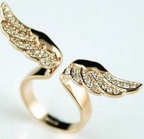 17mm size fashion exquisite rhinestone angel wing ring jewelry for