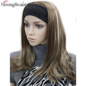 Image 2 - قوي الجمال طويل الاصطناعية متموجة الباروكة دون قلنسوة نصف السيدات 3/4 لمة مع عقال شعر مستعار