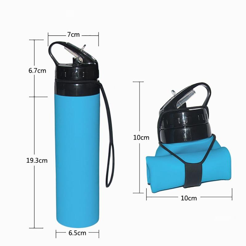 Silicone Sports Water Bottle Kettle Folding Hiking Bike Outdoor Travel Water Bottle Heat Resisting Cracking Resisting Crmx4h9