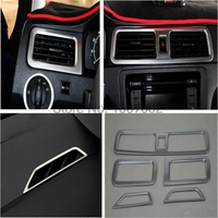 For Skoda Rapid Spaceback 2013 2014 2015 2016 ABS Chrome Air Vent Outlet Cover Sticker Left driving Car Interior Accessories