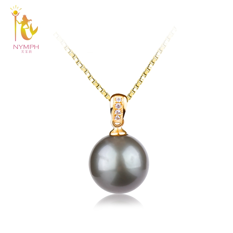 NYMPH Natural Black Tahitian Pearl Jewelry Real 18k Yellow Gold Pendant Necklace Luxurious Fine Jewelry Wedding Party Gift D229 nymph brand 18k 9 10mm pearl pendant necklaces for women yellow gold pearl fine jewelry gift party luxury lifestyle