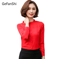 2017 Spring Summer Women Blouses Fashion Korean Style Plaid Ruffled Collar Shirt Chiffon Ladies OL Shirt