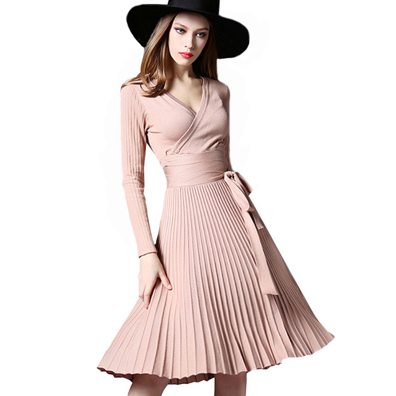 Women Elegant Winter Spring Pleated Dress Office Lady Dresses With Sashes V-Neck Solid  Vintage Vestidos 7 Colors