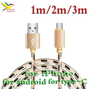 stylish nylon fiber Lattice Braid long Charging Data Cable 8Pin/Type-c/5pin android to USB for iphone samsung 1m/2m/3m 100 pcs