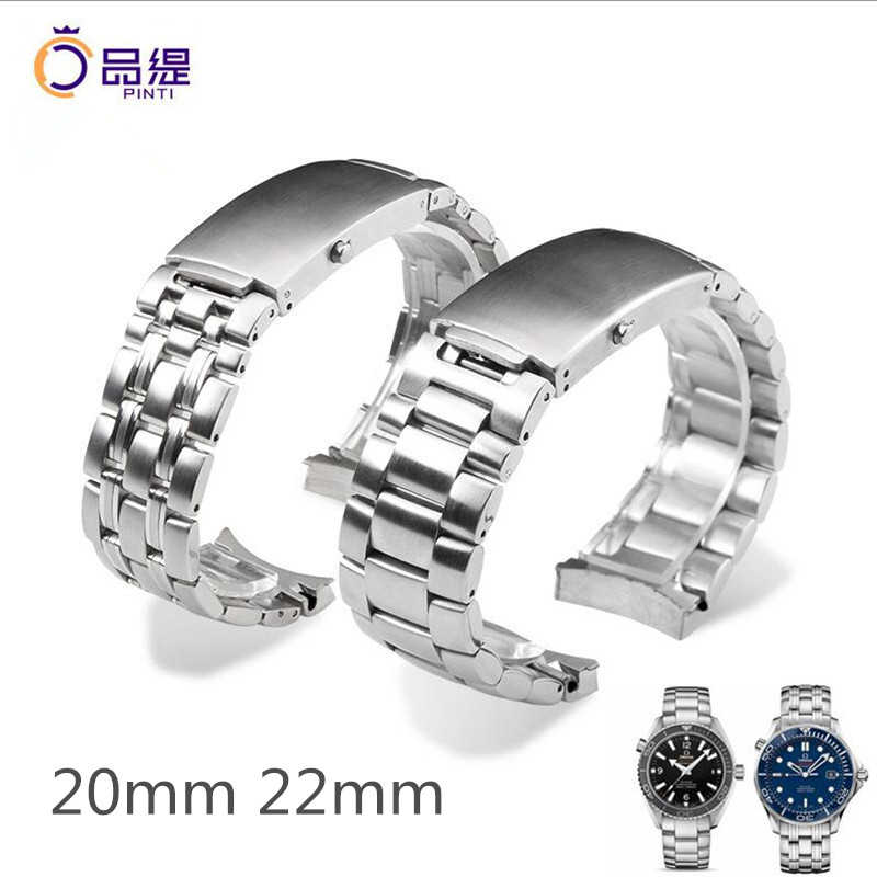 High quality Silver 316L Stainless Steel WatchBand 20mm 22mm Smooth Solid Band Bracelet Folding Clasp For
