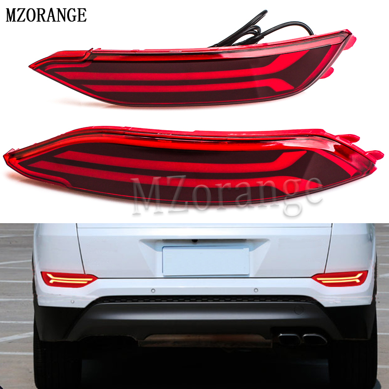 цена на MZORANGE 1Pair for hyundai tucson 2015-2017 Car LED Reflector Lamp Rear Fog Lamp Rear Bumper Light Brake Accessories Light