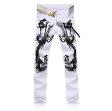 Man White Printed Jeans 2016 New Mens Trousers Tide Male White Jeans Birds Series Leisure Pants