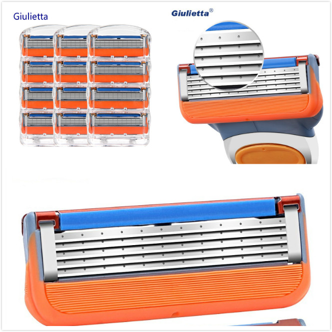 12pcs/Box Giulietta 5 Layer Shaver Razor Blade For Men Compatible Gillettee Fusione Razor Blades For Men Sharp Enough