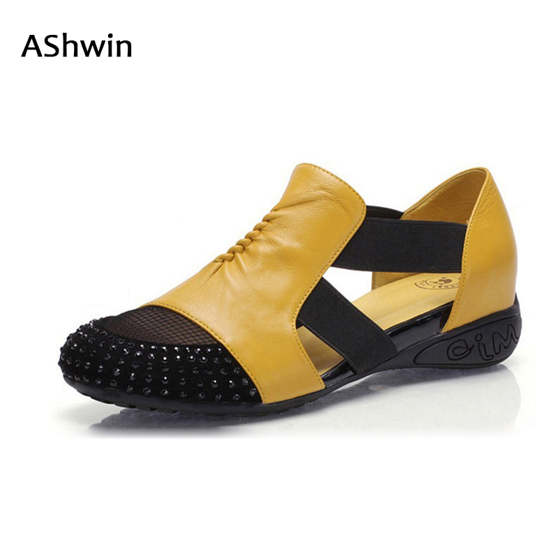 AShwin women loafers rhinestones genuine leather summer sandals flats soft footwear boat shoes woman cutouts oxford