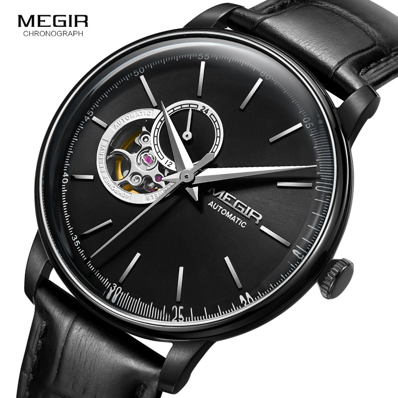 MEGIR Men s Leather Strap Mechanical Hand Wind Watches Fashion Casual Business Wristwatch for Man Waterproof