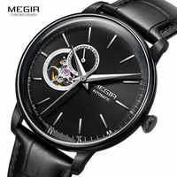 MEGIR Men's Leather Strap Mechanical Hand Wind Watches Fashion Casual Business Wristwatch for Man Waterproof 5 Bar 62057G-BK-1
