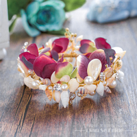 Gorgeous Floral Tiara Women Crown Pearl Jewelry Shell Hairband Hair Ornaments Marriage Bridal Tiara Wedding Accessories
