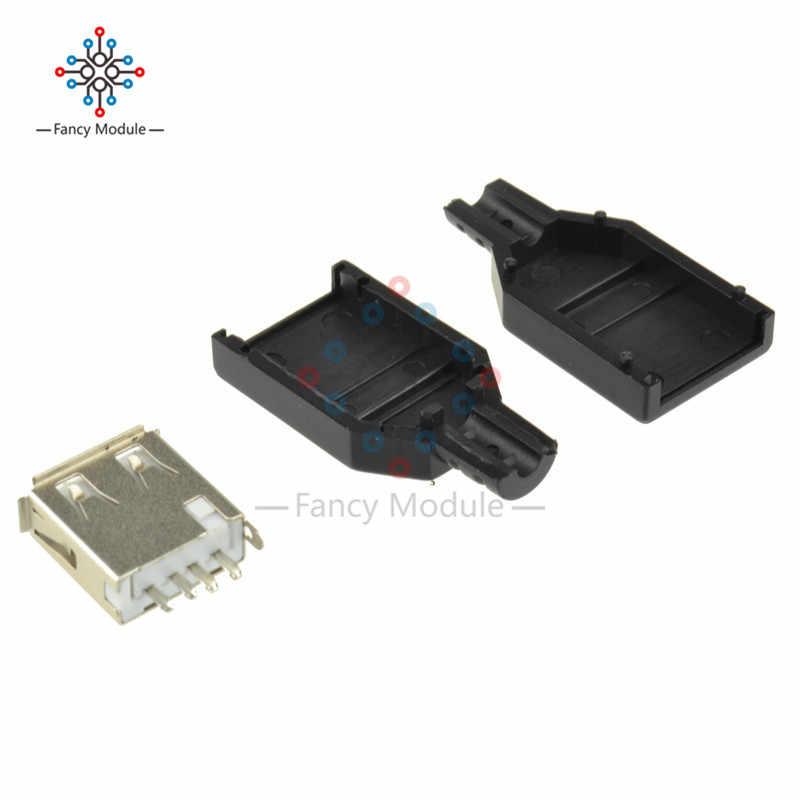 5PCS USB 2.0 ปลั๊ก Type-A 4-pin หญิงอะแดปเตอร์ Contor แจ็คฝาครอบพลาสติก