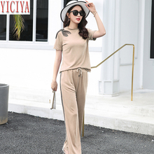 YICIYA Two Piece Sets Women Outfits 2019 New Summer Fashion Womens Wide Loose Pants and Top Plus Size Big Black Clothing