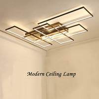 DIY Coffee or White Finish Rectangle Modern Led Chandelier For Living Room Bedroom Study Room Ceiling Chandelier Fixtures