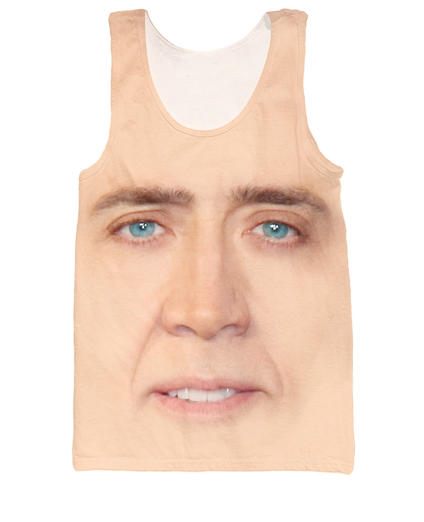 Nicolas Cage   Tank     Top   The Giant Blown Up Face Of Nicolas Cage 3d Print Tees Women Men   Tops   Fashion Clothing Vest