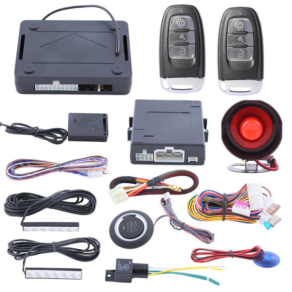 Quality PKE car alarm system with passive keyless entry push button start automatic owner identify, remote trunk release automatic window close pke car alarm system with auto start passive keyless entry remote trunk release push button start stop
