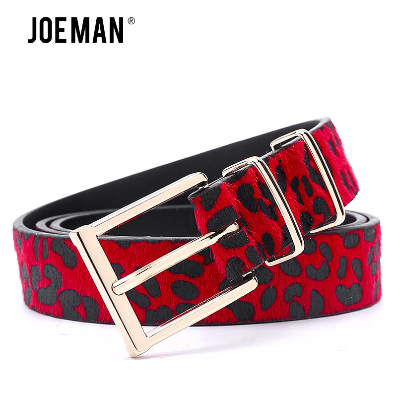 Cinturón de mujer de pelo de caballo con estampado de leopardo hebilla de Metal de oro rosa marca de diseñador de niñas accesorios de moda cinturones de señora 5 colores