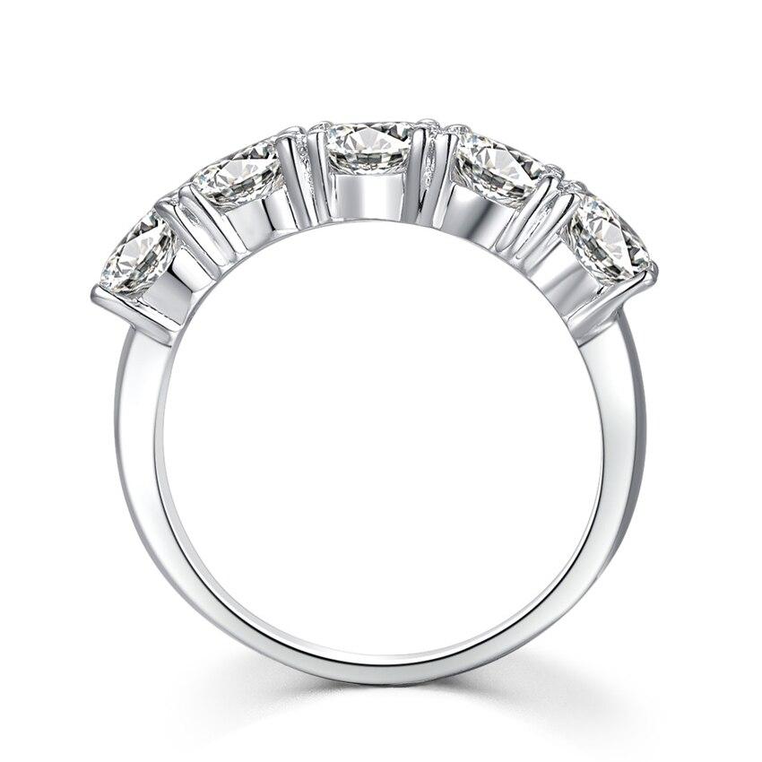 Fünf Steine 2.5Ct Synthetischen Diamanten Verlobungsring Eheringe Solide 925 Sterling Silber Ring Weiß Farbe Gold Schmuck-in Eheringe aus Schmuck und Accessoires bei  Gruppe 3