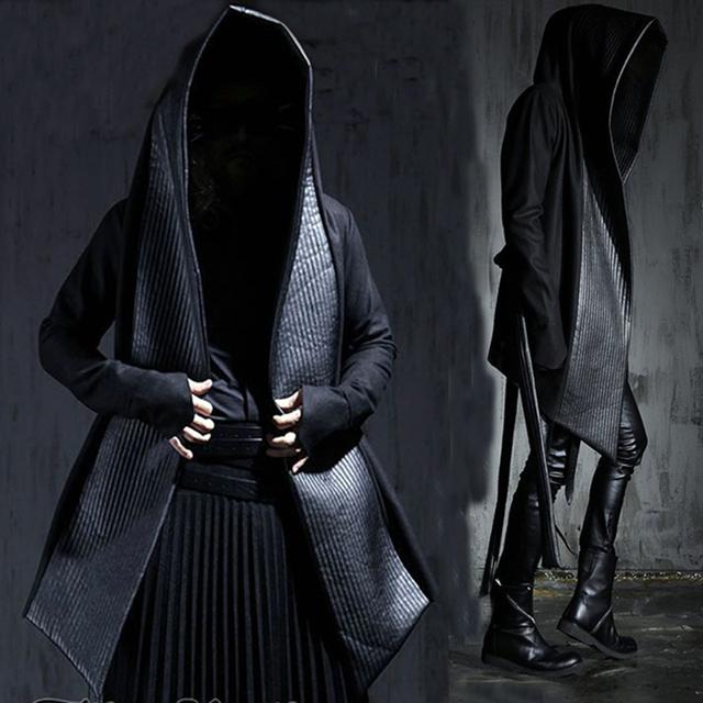Couro Moda masculina Longa Com Capuz de Lã Trench Coats Preto Gótico Manto Sobretudo Hot-selling 2016 Inverno Novo