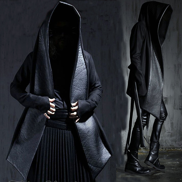dcf5f30bff Men s Fashion Leather Long Hooded Woolen Trench Coats Black Gothic Cloak  Overcoat Hot-selling 2017 Autumn Winter New
