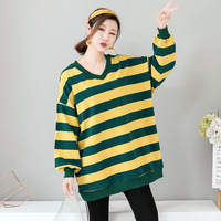 2019 Autumn New Ins Super Fire Pullover Sweatshirt Women's Lazy Wind Student V neck Long Section Plus Size Free Shipping